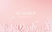 종이 야자수잎, 종이컨셉의 여름배경_031