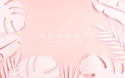종이 야자수잎, 종이컨셉의 여름배경_034
