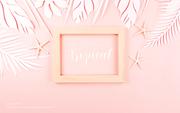 종이 야자수잎, 종이컨셉의 여름배경_048