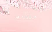 종이 야자수잎, 종이컨셉의 여름배경_060