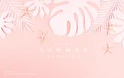 종이 야자수잎, 종이컨셉의 여름배경_061
