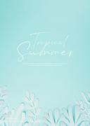 종이 야자수잎, 종이컨셉의 여름배경_002