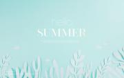 종이 야자수잎, 종이컨셉의 여름배경_009