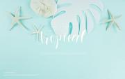 종이 야자수잎, 종이컨셉의 여름배경_012