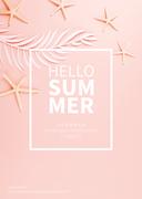 종이 야자수잎, 종이컨셉의 여름배경_015