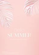종이 야자수잎, 종이컨셉의 여름배경_016