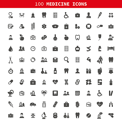 Collection of icons of medicine. A vector illustration