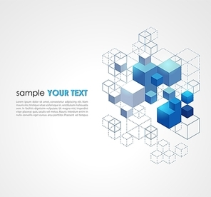 Abstract blue cubes vector background.