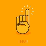 vector abstract creative concept - hand icon with finger pointing up - illustration in outline style