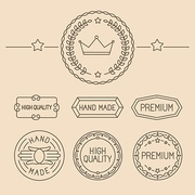 Vector set of line badges and logos - premium quality emblems and labels in outline trendy style