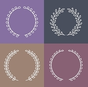 Vector set of laurel wreaths in outline style - round branches with leaves