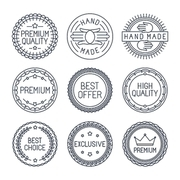 Vector set of premium labels and badges in line style - handmade|best choice and high quality