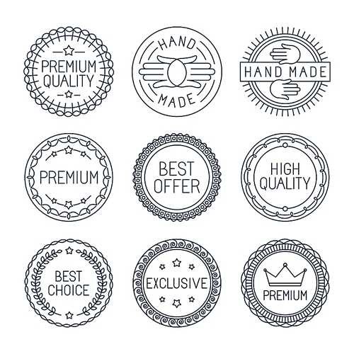 Vector set of premium labels and badges in line style - handmade best choice and high quality
