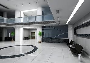 modern business hall design interior (3D rendering)