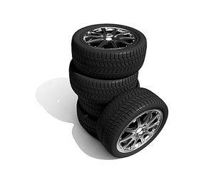 wheels with steel rims over the white background