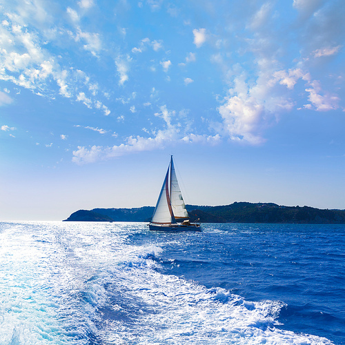 Javea sailboat sailing in San Martin cape Xabia at Mediterranean Alicante of Spain