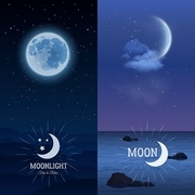 Moonlight vertical banner set with moon on dark sky background isolated vector illustration