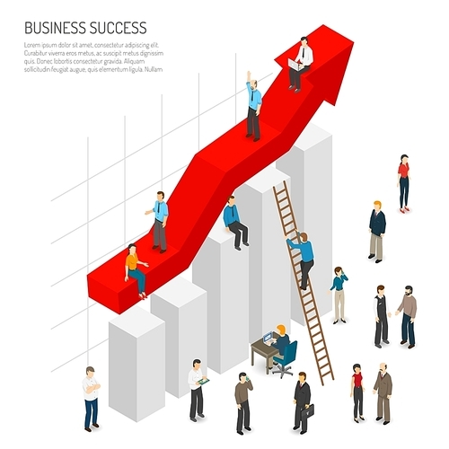 Business success poster of abstract diagram with red arrow growth and people around it isometric vector illustration
