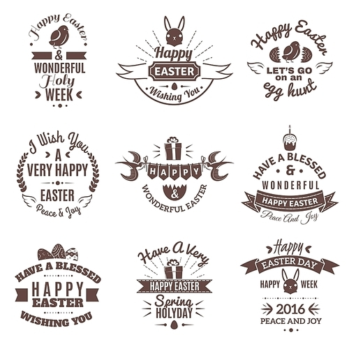 Easter holiday emblem black set with bynny and eggs decoration isolated vector illustration