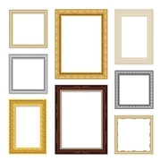 Vintage realistic frame set in different colors isolated vector illustration