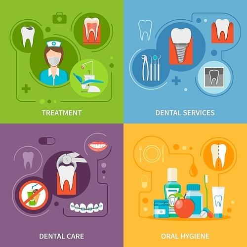 Dental Care Concept. Dental Icons Set. Dental Care Vector Illustration. Dental Care Symbols. Dental Care Design Set. Dental Elements Collection.