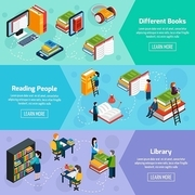 Library isometric horizontal banners with different books and reading people in fantasy style vector illustration