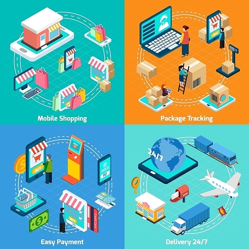 Mobile shopping delivery payment and tracking with related elements isometric 2x2 icons set
