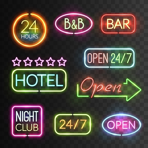 Neon open sign icon set with flash light for hotels shops casino for example vector illustration