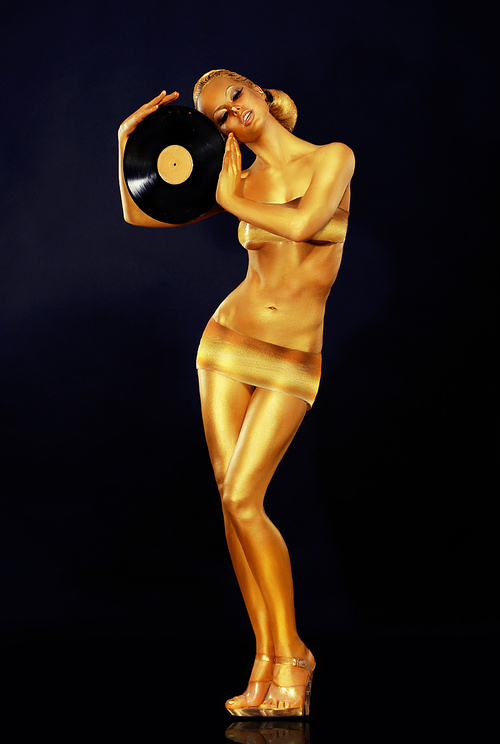 Woman Painted Gold With Vinyl Record