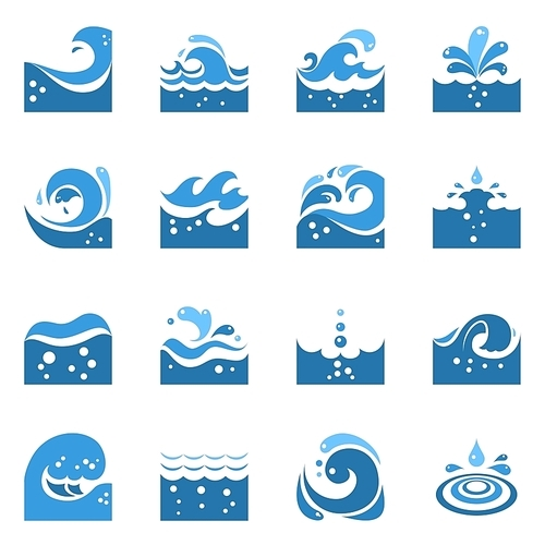 Blue wave flat icons set with sea swirl and water splashing isolated vector illustration