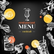 Restaurant chalkboard menu. Hand drawn sketch cocktails and fruits vector illustration
