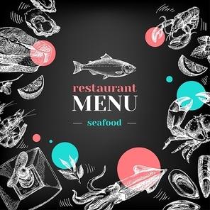 Restaurant chalkboard menu. Hand drawn sketch sea food vector illustration