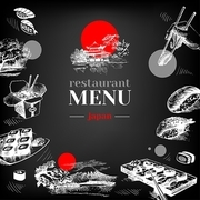 Restaurant chalkboard Japanese food menu. Hand drawn sketch sushi vector illustration