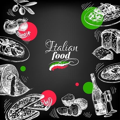 Restaurant chalkboard Italian cuisine menu design. Hand drawn sketch vector illustration
