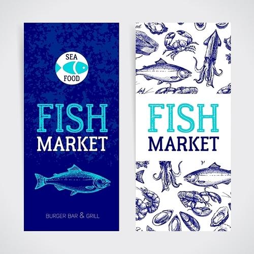 Restaurant fresh sea food menu banners set. Fish market paсkage and poster. Hand drawn sketch vector illustration