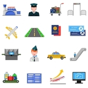 Airport icons set with plane and luggage symbols flat isolated vector illustration