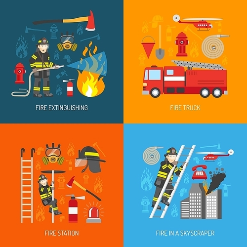 Firefighters work concept 4 flat icons square composition banner with fire station equipment abstract isolated vector illustration