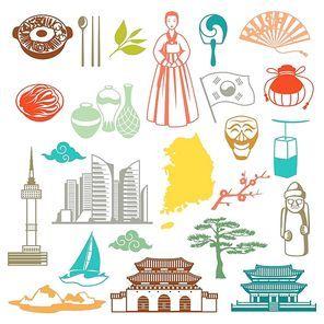 Korea seamless pattern. Korean traditional symbols and objects.