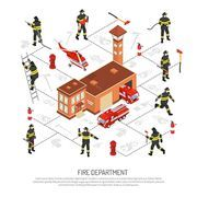 Colored isometric fire department infographic with various situations occurring in fire fighting vector illustration