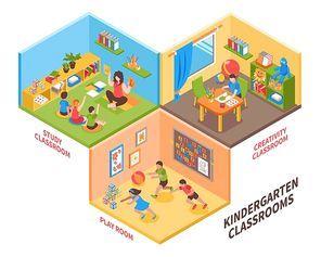 Kindergarten indoor isometric design concept with children and teacher in study classroom play room and creativity classroom vector illustration