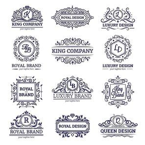 Set of monochrome labels with luxury design including monograms and vignettes crowns and diamonds isolated vector illustration