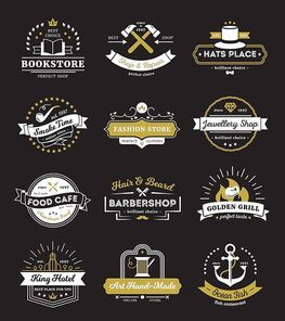 Vintage logos of hotel stores restaurant and cafe with design elements on black background isolated vector illustration