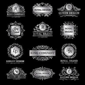Set of silver luxury labels with flourishes and monograms ornate decorations on black background isolated vector illustration