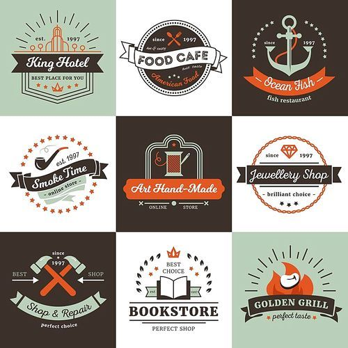 Vintage logos of shops hotel and cafe design concept with ribbons rays and stars isolated vector illustration