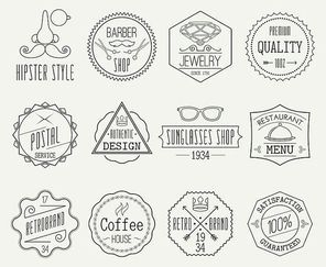 Set of retro line emblems with hipster elements isolated vector illustration
