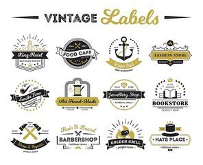 Vintage labels of hotel shops and cafe including bookstore barber and design elements isolated vector illustration