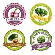 Collection of labels for organic farming products with healthy fresh vegetables icons flat isolated vector illustration