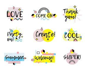 Collection of hand drawn phrases in  memphis style with colorful lines and geometric shapes isolated vector illustration