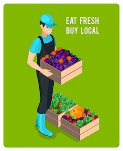 Cheerful isometric grocer with organic fresh eco healthy vegetables in wooden boxes isolated vector illustration