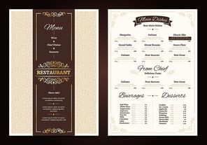 Restaurant menu vintage design with ornate frame and ribbon chef dishes beverages and desserts isolated vector illustration
